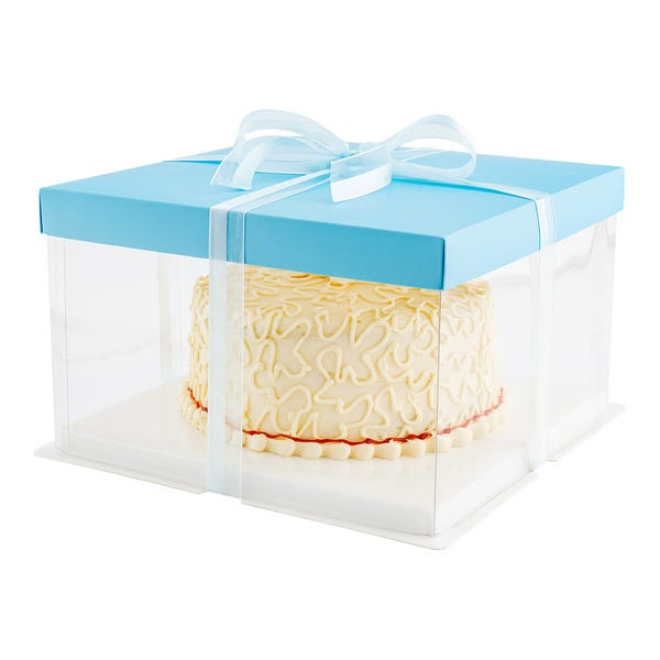 Sweet Vision Square Clear Plastic Cake Box - Blue Lid and White Base, Blue Ribbon - 10