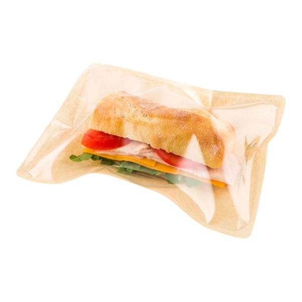 Bag Tek Kraft Plastic Medium Sandwich and Snack Bag - Heat Sealable - 8 3/4