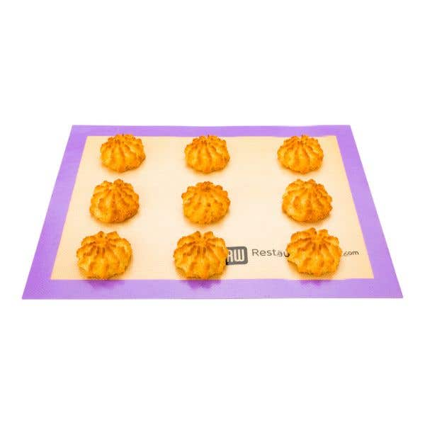 Rectangle Tan and Purple Silicone Half Size Baking Mat - Allergen Safe, Color-Coded - 11 3/4