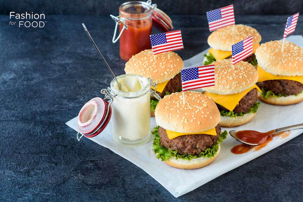 Mini Hamburgers Appetizers with US Flags