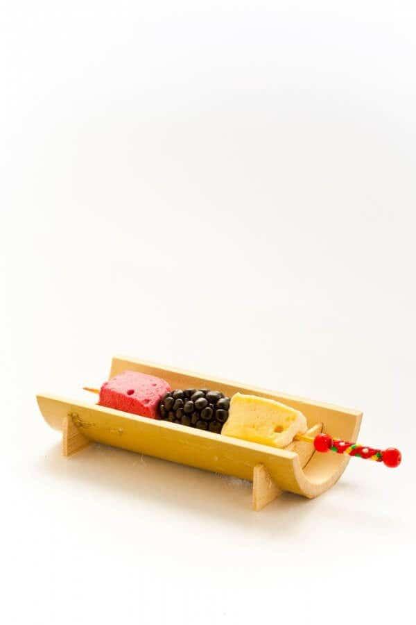 small bamboo canoe